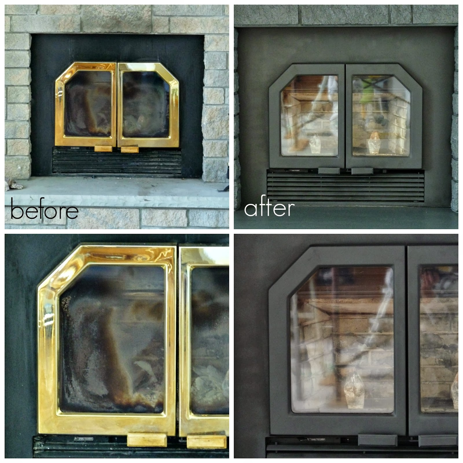 paint brass fireplace doors.  Painted Fireplace Doors And Vents Dans Le Lakehouse