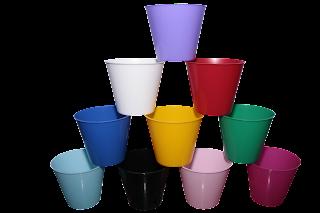 cachepô plástico colorido