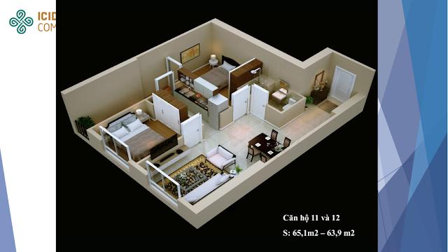 Thiết kế căn 11 - 12 chung cư Icid Complex