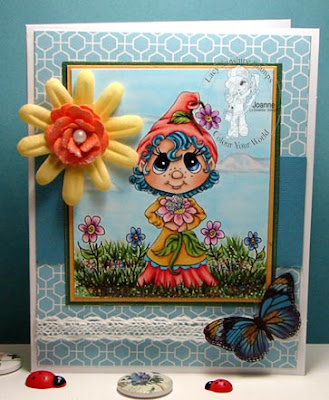 sweet flower gnome card created by joanne - colours and cards