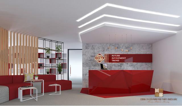Khu vực lễ tân ấn tượng trong thiết kế văn phòng cao cấp FIT Group