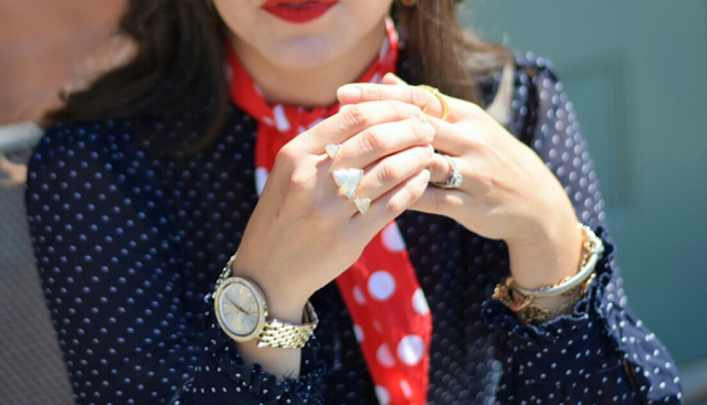 Red and Blue Michael Kors Darci Watch Kendra Scott Dobule Ring