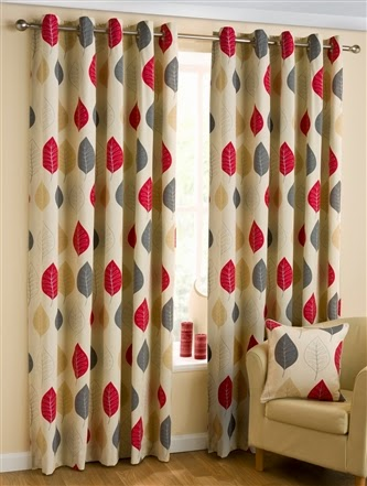 Modern Leaf Lined Eyelet Curtains