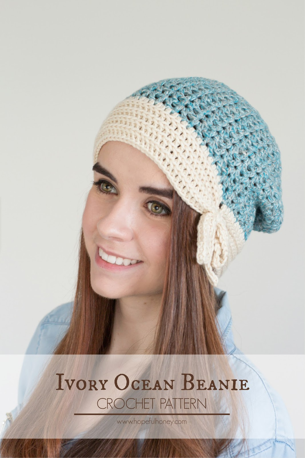 Crochet Patterns Scarfie Yarn : ... Crochet, Create: Ivory Ocean Beanie - Free Crochet Pattern & Yarn