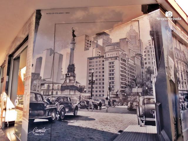 Close-up de Pintura realista na Rua Amaral Gurgel - São Paulo