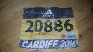One very soggy race number at the end of the half marathon