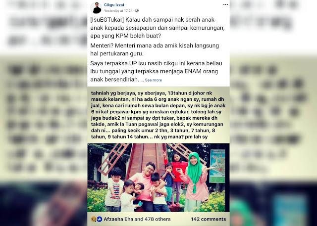 Image result for Guru 'lelong' enam anak kerana kecewa gagal pertukaran?