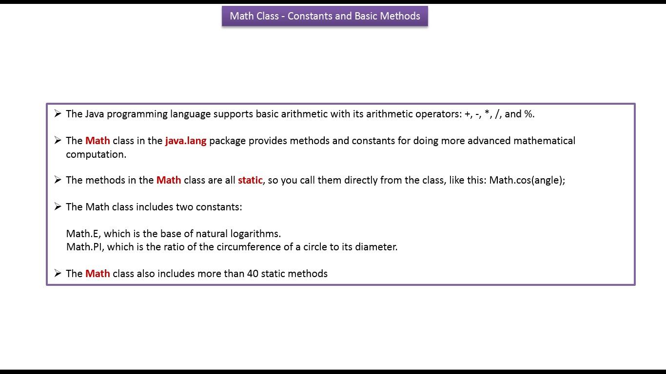 Java ee java tutorial java math class constants and basic methods java tutorial java math class constants and basic methods baditri Gallery
