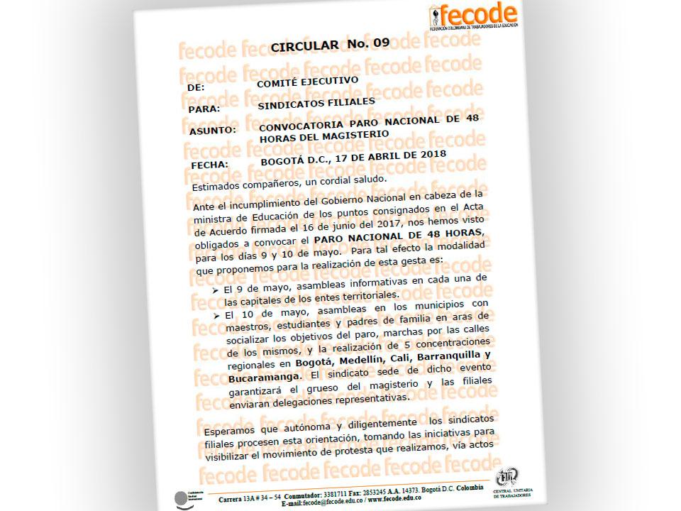 CONVOCATORIA PARO NACIONAL DE 48 HORAS DEL MAGISTERIO