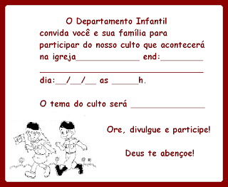 Modelo De Convites De Culto Infantil