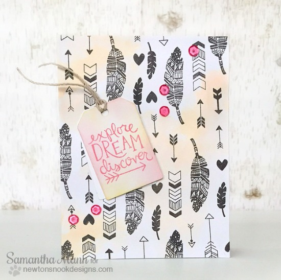 Inspirational card with feathers & arrows by Samantha Mann | Adventure Awaits Stamp set by Newton's Nook Designs #newtonsnook