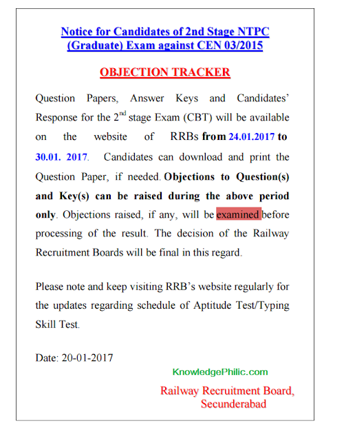 Railway [RRB] NTPC  Mains (Stage -2) 2016 Official Answer keys release Date