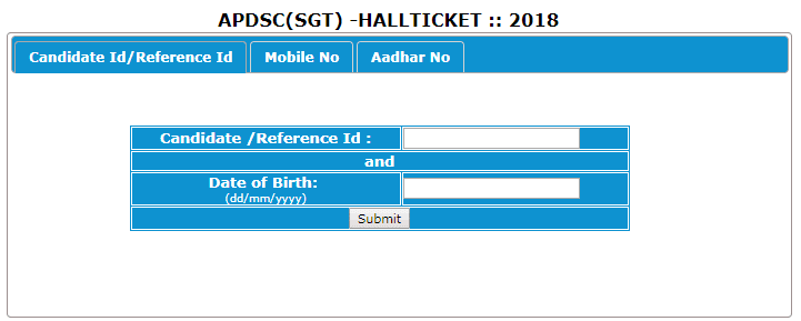 AP DSC SGT/TET cum TRT 2018 Hall Tickets download