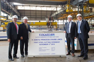 Steel Cutting Ceremony at Italy's Fincantieri Shipyard of the New Princess Royal Class ship