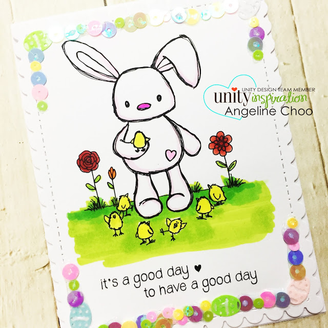 ScrappyScrappy: Sequins Border #scrappyscrappy #unitystampco #stamp #stamping #papercraft #scrapbook #quicktipvideo #youtube #video #tierrajackson #easterbunny #easteregg #katscrappiness #ginamariedesign #copicmarkers #sequins