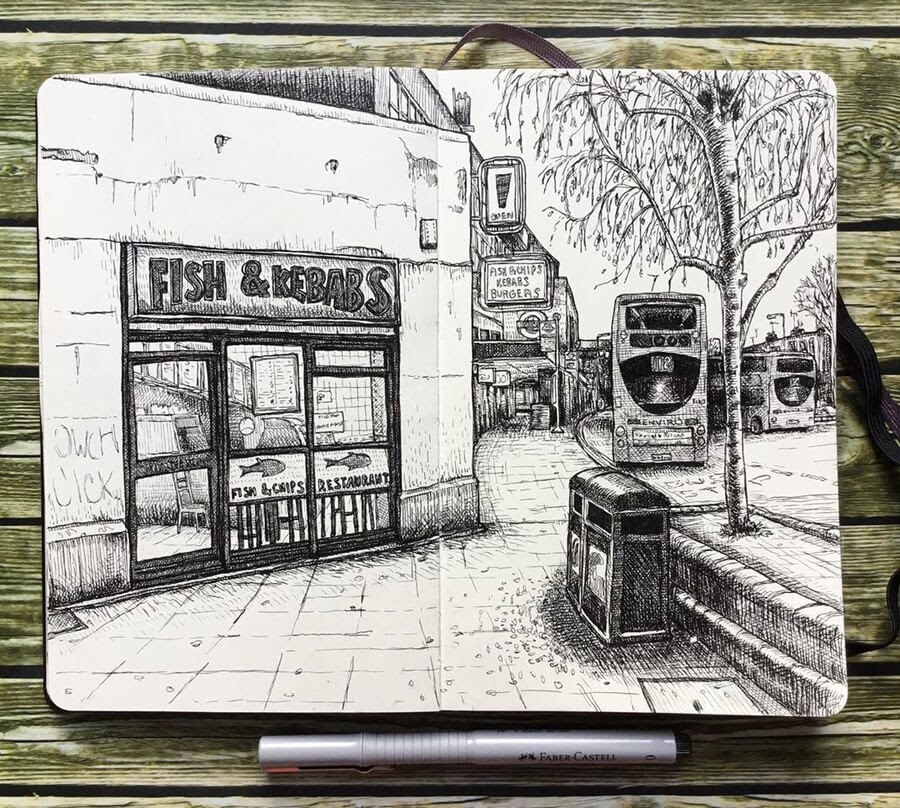 05-Morden-London-Keir-Ross-Urban-Travel-Sketcher-www-designstack-co