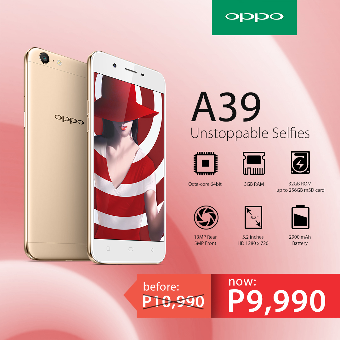 the oppo a39 now down to just 9990