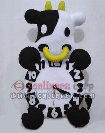 Jam Dinding Flanel Karakter Kartun Boneka Sapi Android