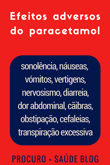 Efeitos adversos mais frequentes do paracetamol