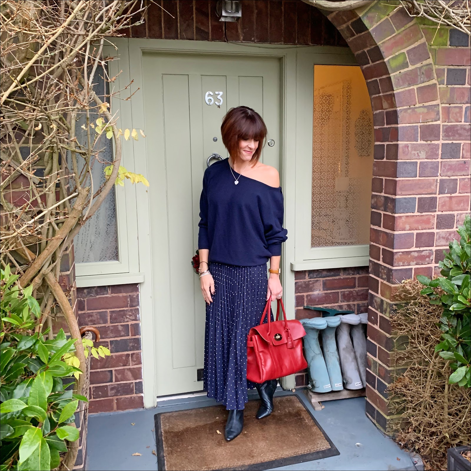 my midlife fashion, iris and ink off the shoulder cashmere jumper, marks and spencer polka dot pleated midi skirt, mulberry bayswater leather tote, zara kitten heel ankle boots