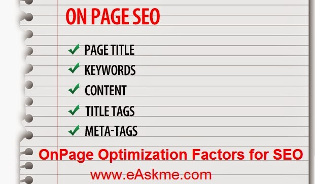 OnPage Optimization Factors for SEO : eAskme