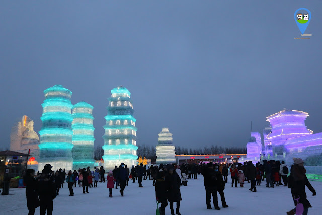 Colourful neons lit up at Harbin Ice Sculpture Exhibition in Heilongjiang, China