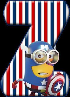 Abecedario Capitán América Minion. Minion Captain America Alphabet.