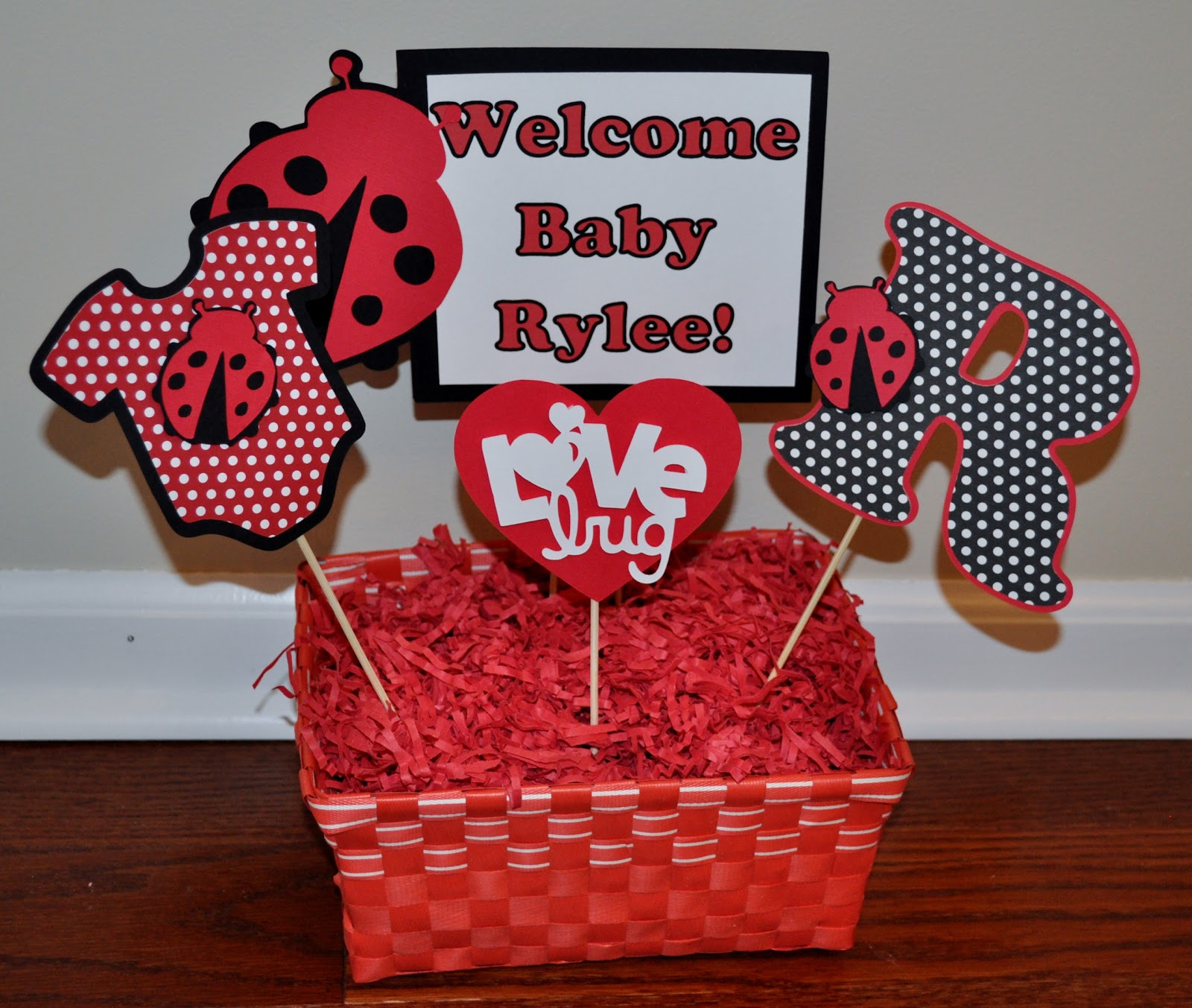 R + R Creations: Ladybug Baby Shower Centerpiece