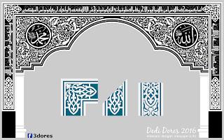 Desain kaligrafi mihrab masjid kampar, kaligrafi mihrab masjid pekanbaru