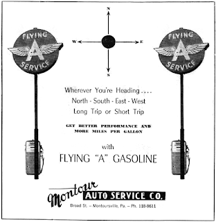 "Ad for ""Flying A"" gasoline from the 1960s"