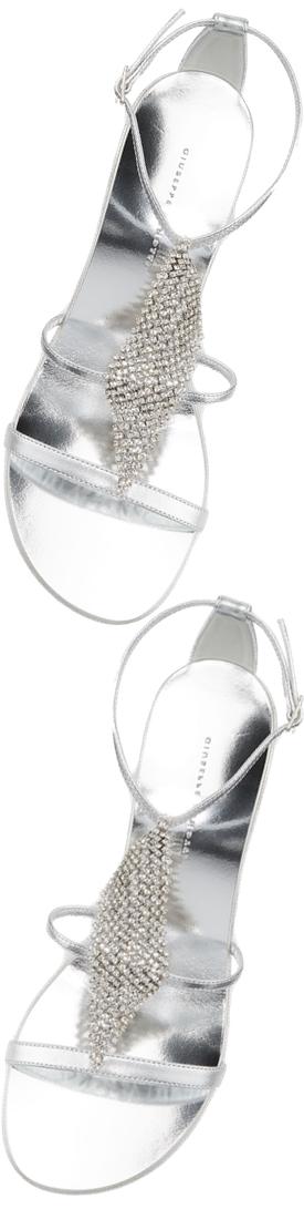 Giuseppe Zanotti Metallic Crystal Block-Heel Sandals