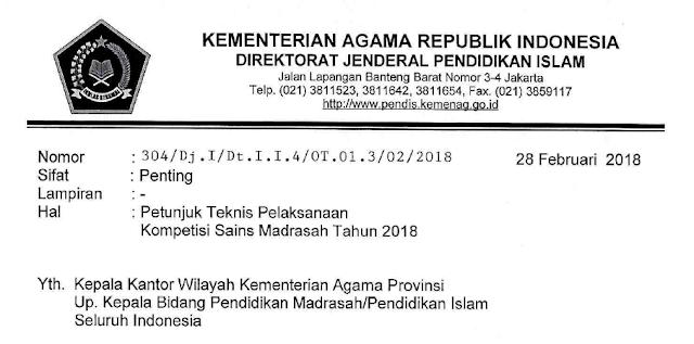 Juknis Kompetisi Sains Madrasah Tahun 2018
