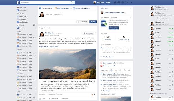 Facebook介面示意圖