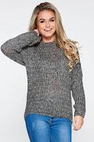 Pulover PrettyGirl gri casual cu croi larg din material tricotat accesorizat cu snur la spate