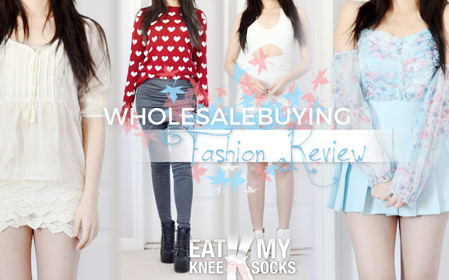 Today I'll be reviewing my second experience with Wholesalebuying, an online fashion store similar to Dresslink, selling a huge range of styles at extremely low prices! I got four items that I'll be talking about in detail, including tiered beige crochet shorts, 2-in-1 gray skirt leggings, a white cutout bodycon dress, and an off-shoulder floral chiffon top. - Eat My Knee Socks/Mimchikimchi