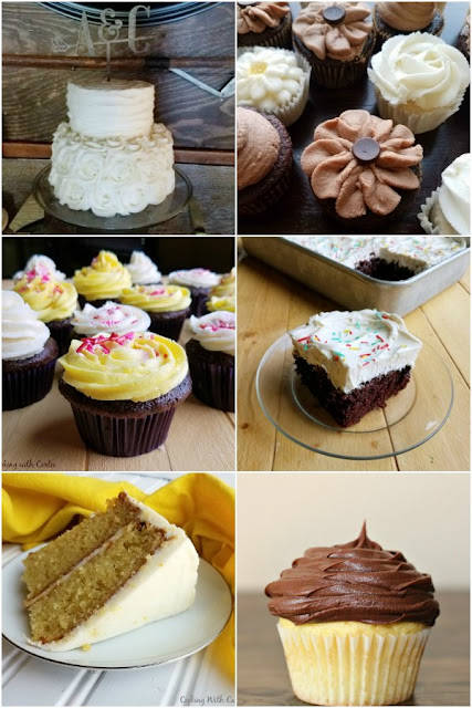 collage of cakes and cupcakes with various types of frosting