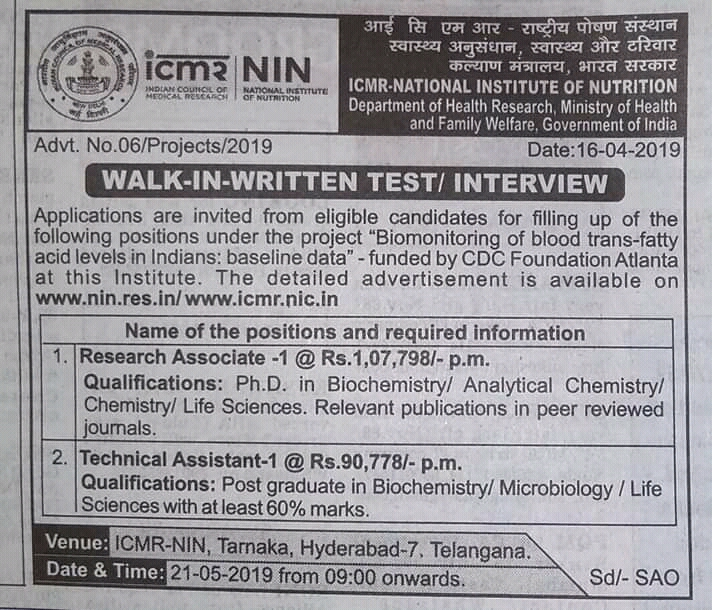 Pharmajobs: ICMR- Walk in Written test/ Interview for Research