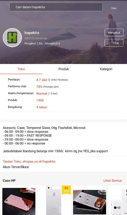 Profile Toko Aksesories Handphone Hapekita di Shopee.