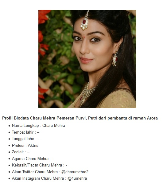 charu mehra memerankan purvi sebagai putri pembantu di rumah arora