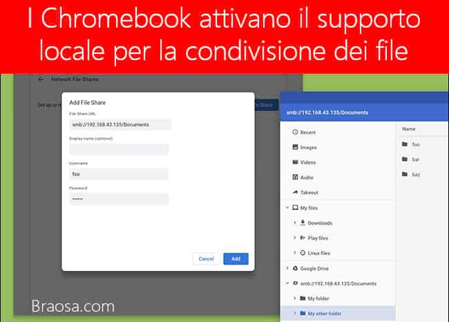 I Chromebook attivano il supporto locale per la condivisione dei file