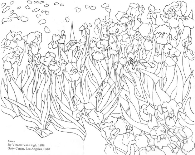Van Goghs Irises Coloring Page