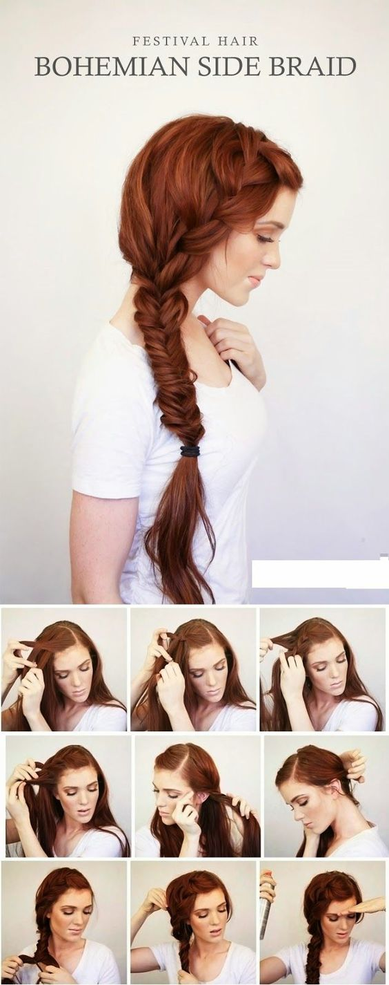 Bohemian Side Braid Easy Women's Hairstyles
