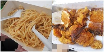 Sphagetti Chicken Mushroom Mornay dan Spicy Fried Squid