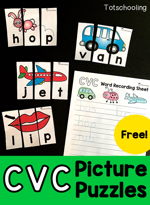 FREE CVC word puzzles for kindergarten kids learning to read. These puzzles are self-correcting with pictures, great for a literacy center. Also includes a recording sheet for writing practice.
