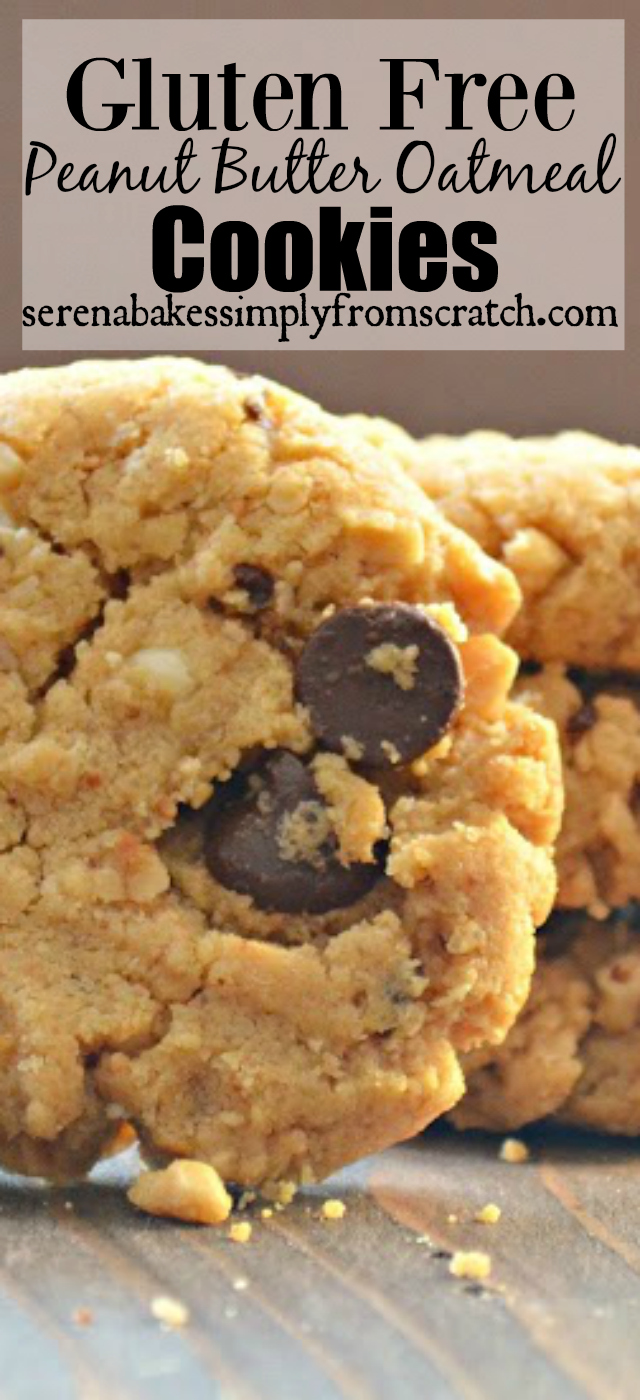 Gluten Free Peanut Butter Oatmeal Cookies so easy with simple ingredients you already have! serenabakessimplyfromscratch.com