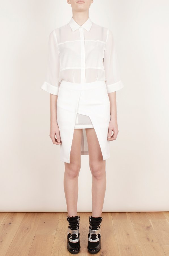 Cross Over Front, Cut Out Detail, Faux Wrap, Lavish Alice, Made In Chelsea, MIC, Mini Skirt, Panels, Pencil Skirt, Rosie Fortescue, Skirt, Tailored, White, Wrap Front