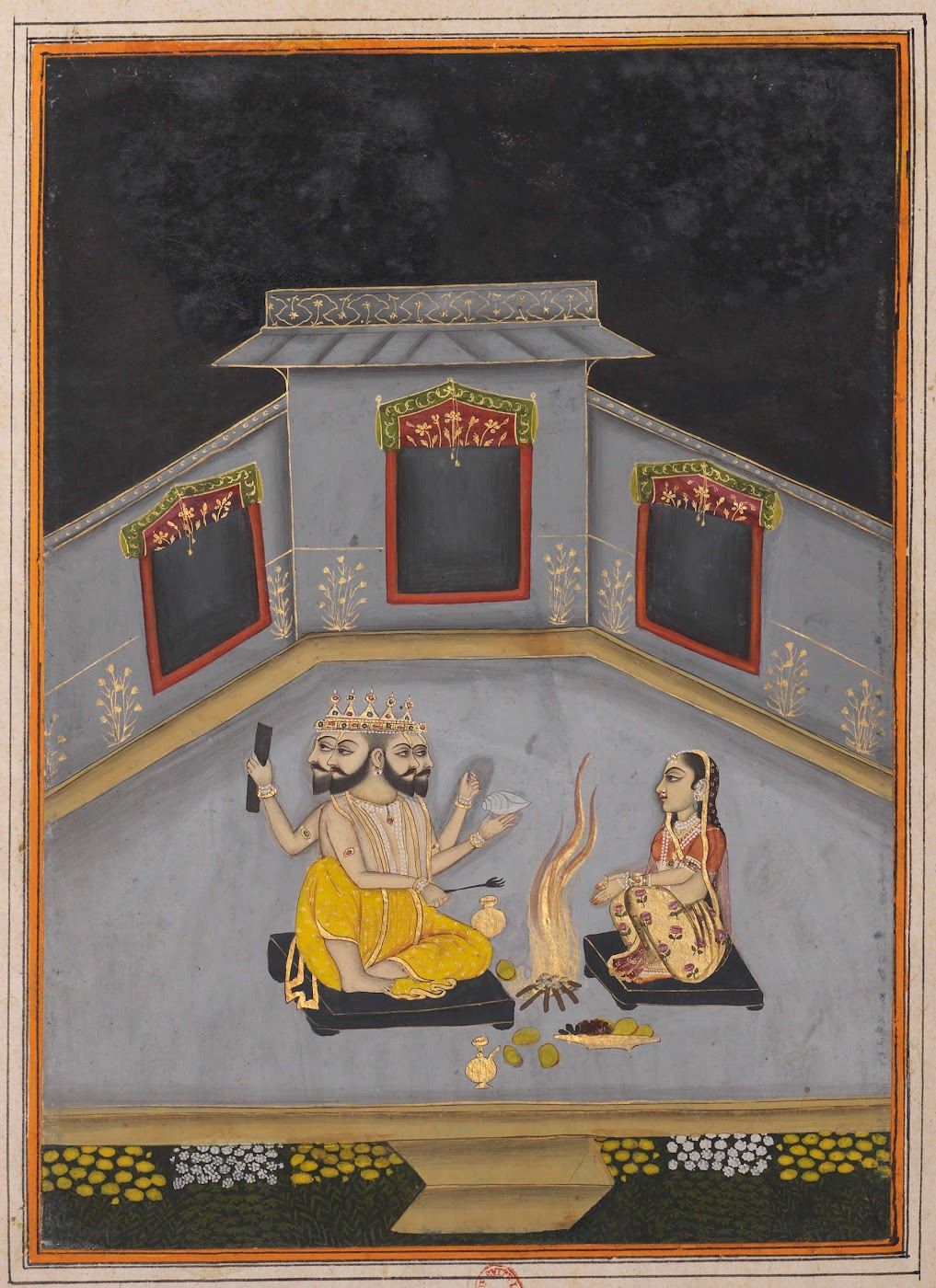 Lady Worshipping God Brahma - Rajput Ragamala Painting from a Manuscript, Circa 1800