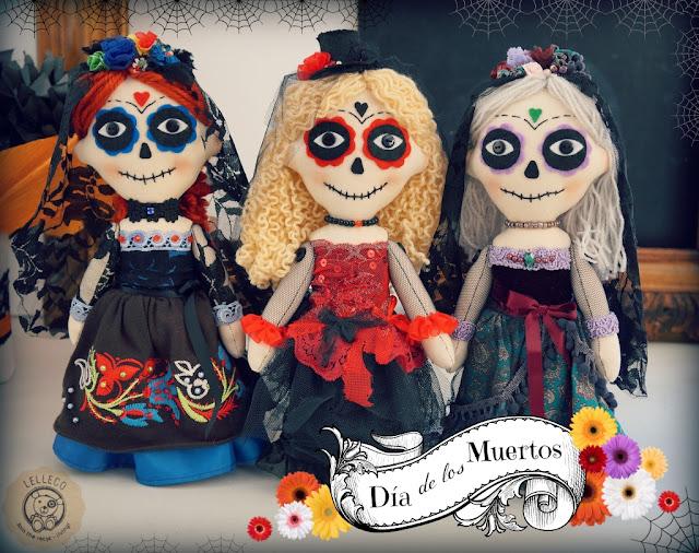 Muñecas de trapo La Catrina mexicana, día de los muertos.