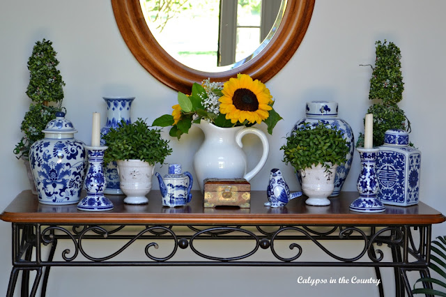 Traditional blue and white porcelain in the foyer