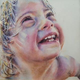 Retrato de niño en acuarela.